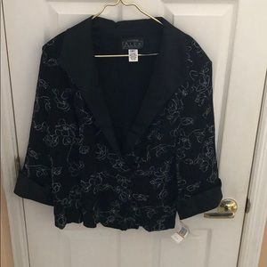 ALEX EVENINGS NWT black silver blazer jacket sz 3X